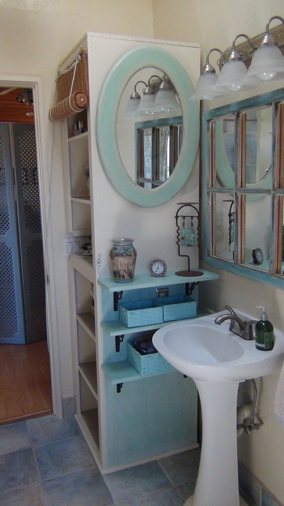 Hair And Make Up In Small Bathroom Organized Beautifully