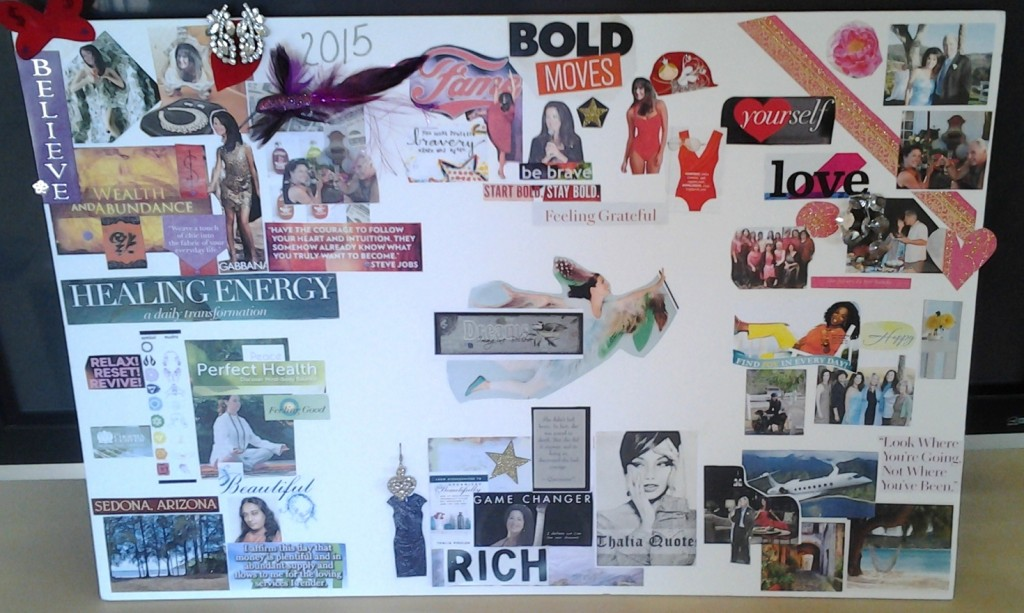 Vision Boards can be arranged however you like. You might use the principles of Feng Shui Bagua as you lay out the board.  I enjoy using repurposed materials with special meaning.